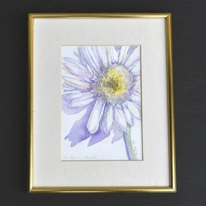Original Signed Daisy Flower Watercolor Painting